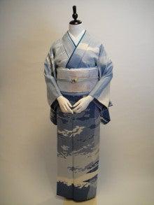 kuwashi KIMONO RENTAL店主のブログ-青雲地紋正絹訪問着 唐織袋帯フルセット