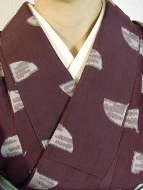 Yukoのハンドメイド+着物雑記-扇柄の紬