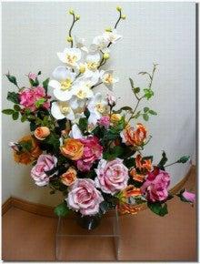 造花のフラワーアレンジメント-造花アレンジ「胡蝶蘭と薔薇」