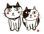 $名前詩と猫Tシャツのお店「福猫屋作品」製造所ブログ-猫2匹