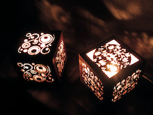 サンドブラストアート 吉野杉透かし彫り-cube