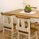 激安50%OFF カントリー ナチュラルな木製のダイニングテーブルセット 5点 ダイニングセット 1800[チャーチチェア] オールドスタイル 食卓 リビングテーブル カントリー家具 無垢 パイン材の手作り家具 送料無料 大人カワイイ オーダー家具