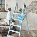 時を経たシャビーな風合いのアンティーク木製ペイントラダー フランス ガーデニング 家具 ステップ ハシゴ