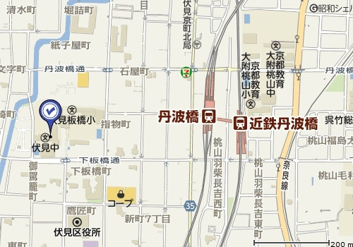 $・                 -伏見中学地図
