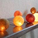【コットンボールランプ】クリスマスライト/イルミネーション/インテリアライト/電飾/ガーランド/オブジェ/アジアン照明/アジアン雑貨