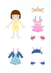 $紙の着せ替え人形+ハワイ生活のブログ♪-着せ替え人形 紙 女の子