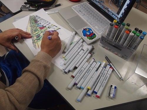 上松技術専門校 木工ブログ2012-長野県上松技術専門校の研ぎ場風景を描く豆太郎