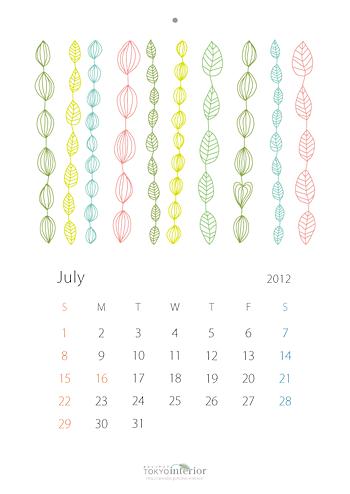 北欧風カレンダー2012年7月