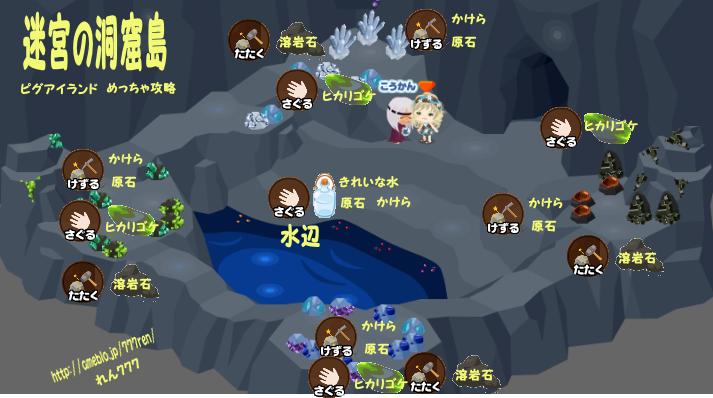 へたれちゃんの罰ゲームライフ-迷宮の洞窟島マップ アクションと素材一覧