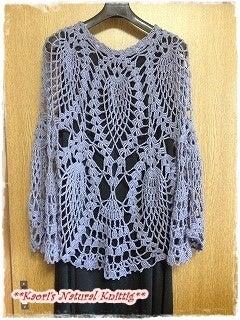 かおりのNatural Knitting-パイナップル模様のポンチョ-04