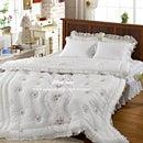60サテンイサベルベッドスカート(ベッドカバー)シングル-White(ホワイト)