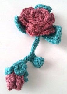 ハンドメイドニット(手編み かぎ針 棒針 ニットセラピー ワークショップ) - Mito Knit --花モチーフ-バラ-