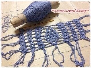 かおりのNatural Knitting-小さなパイナップル模様のストール-01