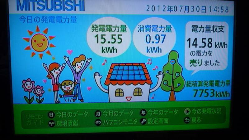 $葛飾太陽光発電所のブログ-葛飾太陽光発電所2012年7月30日発電状況