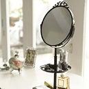 スタンドミラー&トレイ/色ホワイト・ブラック/スチール製(メイクミラー・スタンドミラー・置き型ミラー・手鏡・アクセサリートレイ・アクセサリー収納・アクセサリーホルダー)