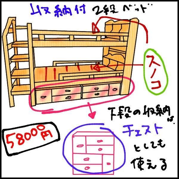子供部屋の整理について(2段ベッド・システムベッドデスクなど)-収納付き2段ベッド