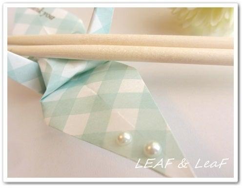 LEAF&LeaFの「手作りカード」な暮らし。/ 手作りペーパーアイテムのお店「LEAF&LeaF SHOP」-折鶴で箸置きのアップ