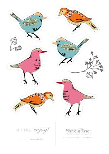 北欧カラーのキュートな小鳥さんタグ