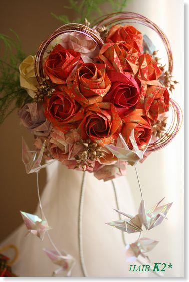 すべての折り紙 折り紙 花 作り方 バラ : 折り紙】花束 ・ブーケ [作り方 ...