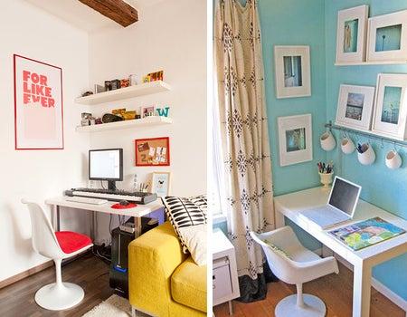 パソコンをおしゃれなインテリアの一部にしたホームオフィス