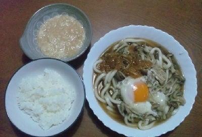 豆腐の Cooking Life-きのこ月見うどん