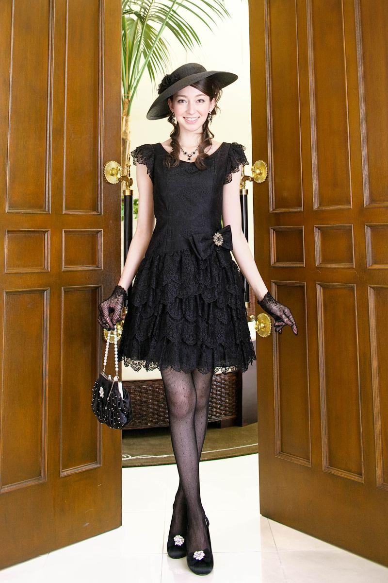 新作ゲストドレスのご紹介 結婚式コーディネート OP15ARE74_BK(ブラック)|結婚式ドレスのトータルコーディネート★パーティードレス・ゲストドレス・二次会