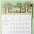 ウッドヘッダー/えんぴつ付き(フォレスト)◎2013年カレンダー(壁掛け)☆平成25年暦通販☆【ナチュラル/アニマル】