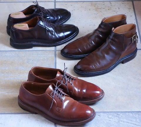 ウィスキー,ブラウン,バーガンディのコードバン靴