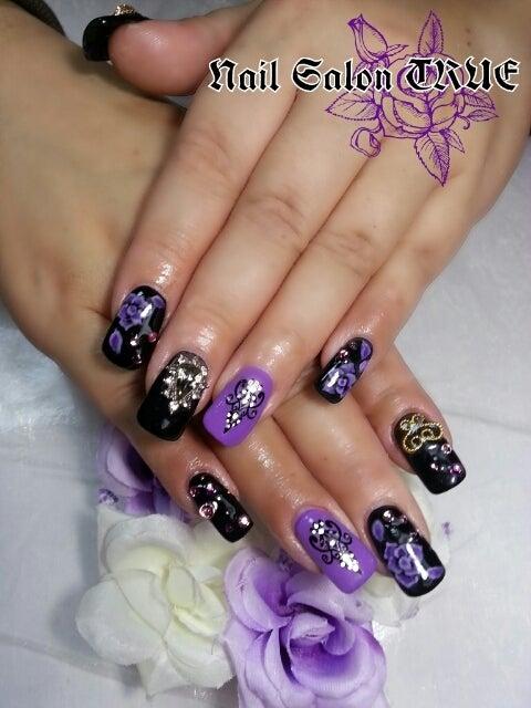 黒×紫バラ☆+,スカルプ|札幌市北区新琴似*Nail Salon TRUE*ネイルサロントゥルー*