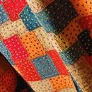 インド カラフルモザイクアップリケ☆パッチワーク刺し子ベッドカバー シングルサイズ マルチカラー 【クリスマスプレゼント】【アジアン】