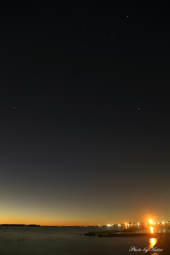 癒しの空間 鹿行星の会 会長ブログ-夕景と夏の大三角