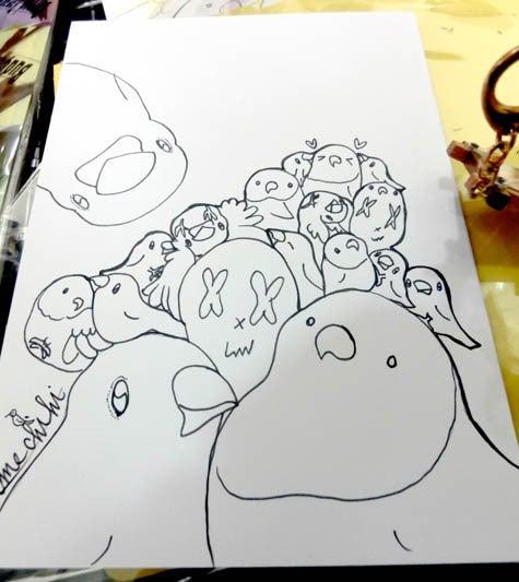 ようこそ!とりみカフェ!!~鳥カフェでの出来事や鳥写真~-鳥まみれ組み絵!~塗り絵用~