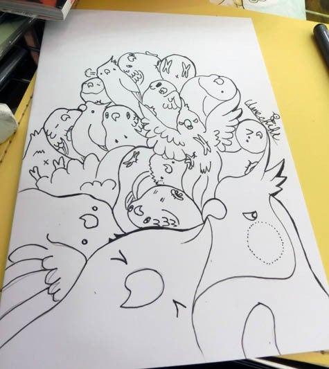 ようこそ!とりみカフェ!!~鳥カフェでの出来事や鳥写真~-鳥まみれ組み絵!(塗り絵用)