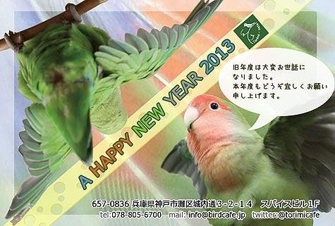 ようこそ!とりみカフェ!!~鳥カフェでの出来事や鳥写真~-2013年度 はコザクラ年賀状!