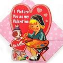 バレンタインカード★絵を描く女の子と犬★[Punch Studio]パンチスタジオ立体メッセージカード