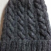 縄編み帽子