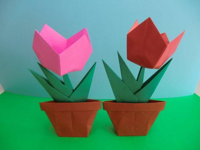 すべての折り紙 チューリップの折り紙 : チューリップ 立体その1 ...