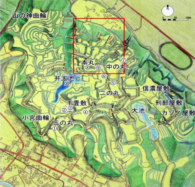 滝山城/縄張図