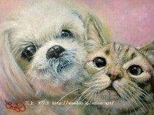 犬と猫の油絵