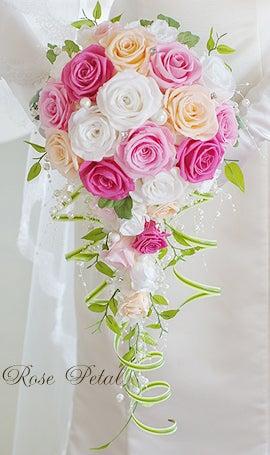 幸せバラブーケ♪ウエディングの願いを叶えるプリザーブドフラワー☆結婚準備-分かれるブーケ シェアブーケ