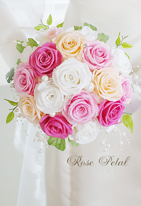 幸せバラブーケ♪ウエディングの願いを叶えるプリザーブドフラワー☆結婚準備-2wayブーケ