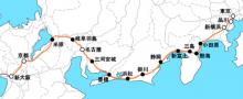 $福盛貴弘の脳炎日記-東海道新幹線路線図