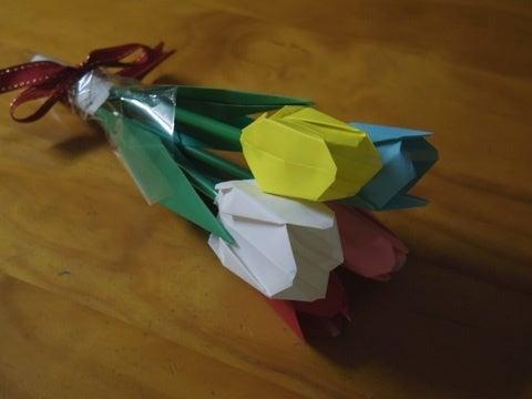 ハート 折り紙 折り紙 チューリップ 花束 : ameblo.jp