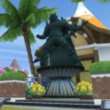 種族像のオーガの銅像…