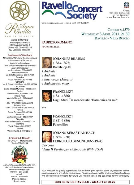 【彼女の恋した南イタリア】 - diario  イタリアリゾート最新情報    -ラヴェッロでコンサートのシーズンがスタート