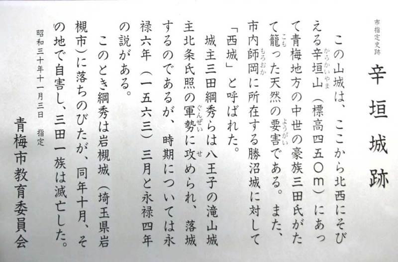 辛垣城/説明板