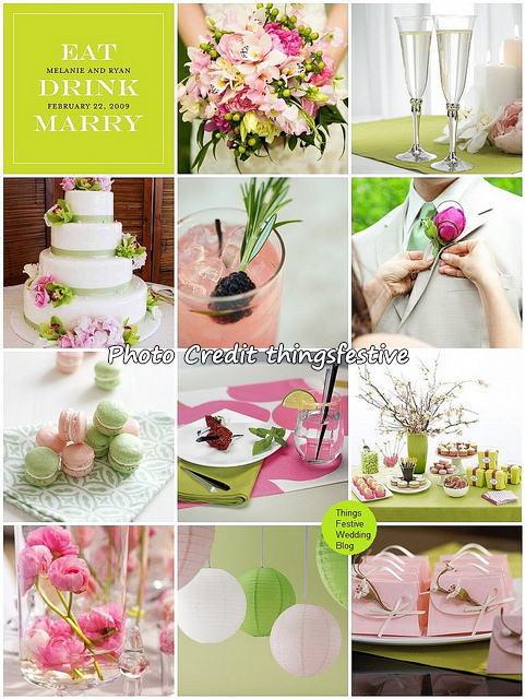 【結婚式】テーマカラー 白ピンク緑のウェディングコーディネート【海外ウェディング】