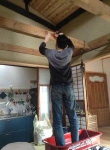 京町家を買って改修する男のblog-梁設置