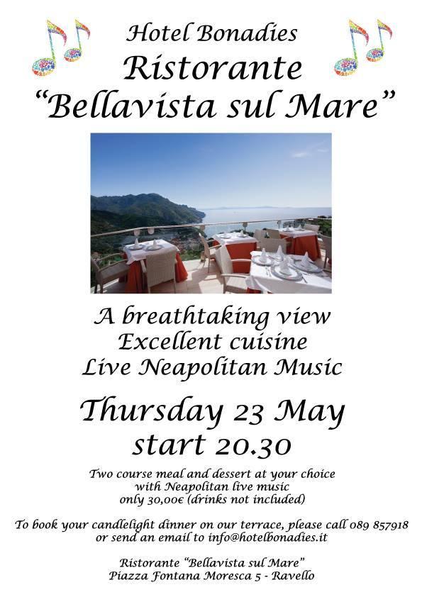 【彼女の恋した南イタリア】 - diario  イタリアリゾート最新情報    -今夜ですが・・・ラヴェッロでナポリ民謡とお食事を