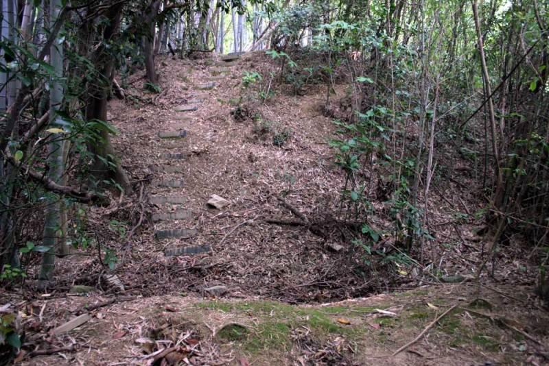 竹尾城/土塁を登る階段